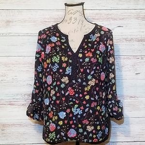 DR2 Top Black colorful Floral Long sleeve …